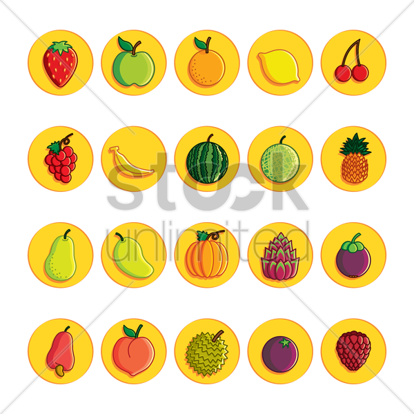 set of fruit icons vector graphic