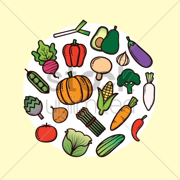 set of fruits and vegetables vector graphic