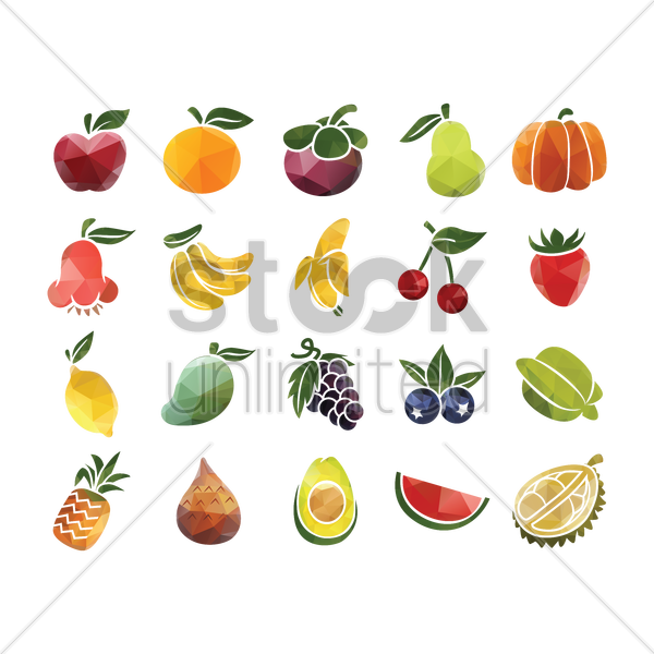 set of fruits vector graphic