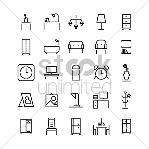 set of furniture icons vector graphic