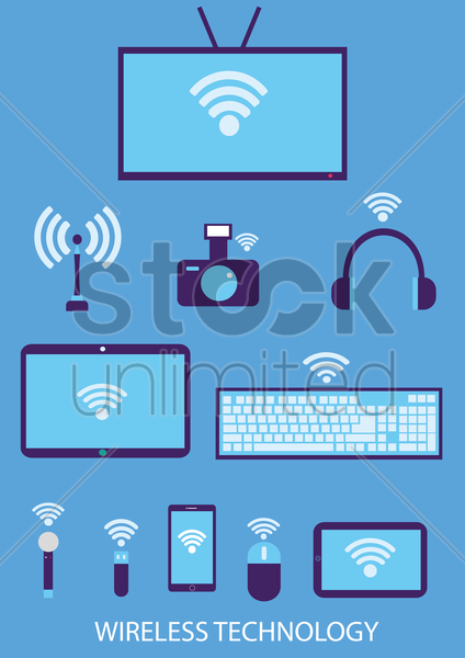 set of gadgets with wireless single vector graphic