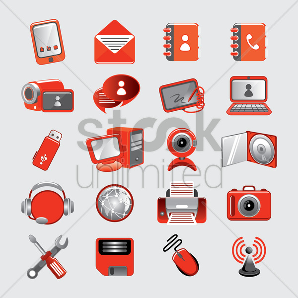 set of gadgets vector graphic