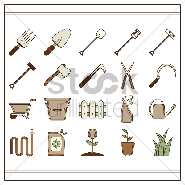 set of gardening tools vector graphic