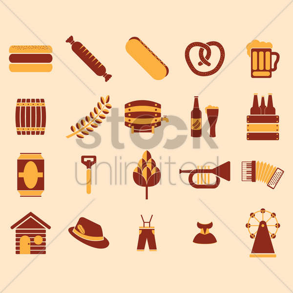 set of german octoberfest icons vector graphic