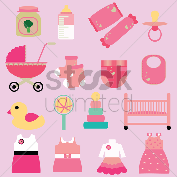 Free set of girl baby icons vector graphic