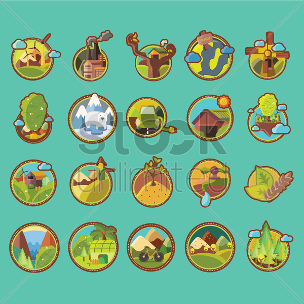 set of go green icons vector graphic