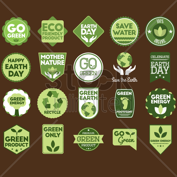 set of go green labels vector graphic