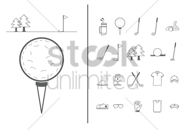 set of golf icons vector graphic