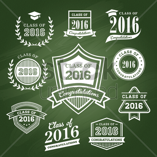 set of graduation icons vector graphic