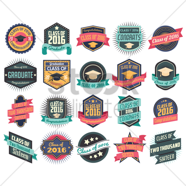 set of graduation labels vector graphic