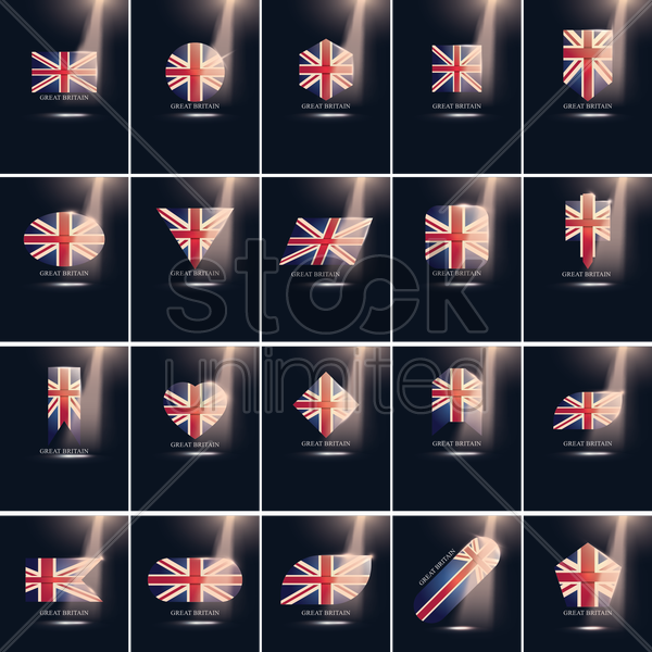 set of great britain flag icons vector graphic