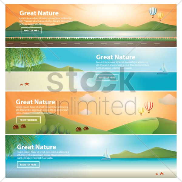 set of great nature banners vector graphic
