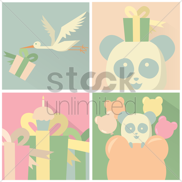 set of greeting cards vector graphic
