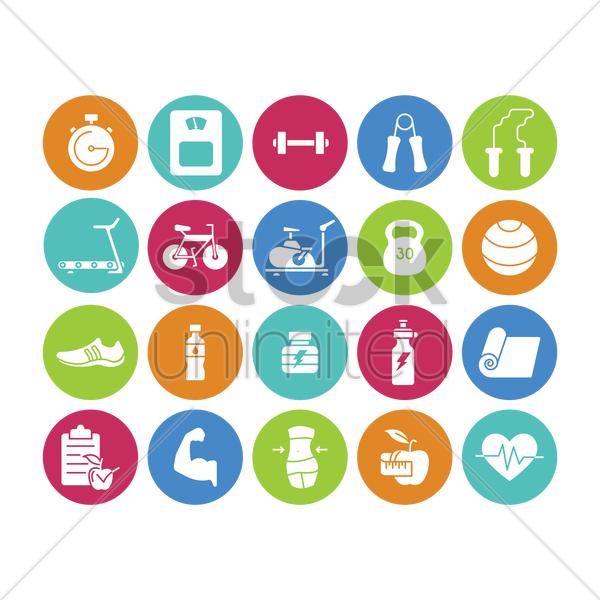 set of gym icons vector graphic