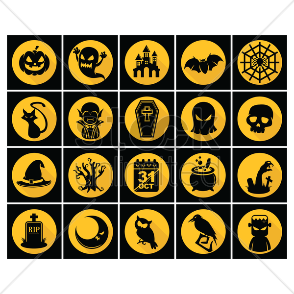 set of halloween icons vector graphic