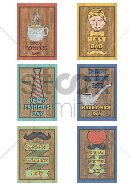 set of happy father's day poster vector graphic