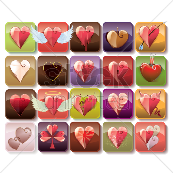Free set of heart icons vector graphic