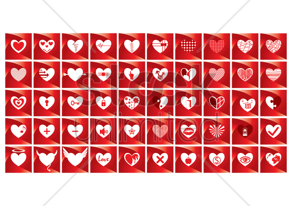 set of heart icons vector graphic
