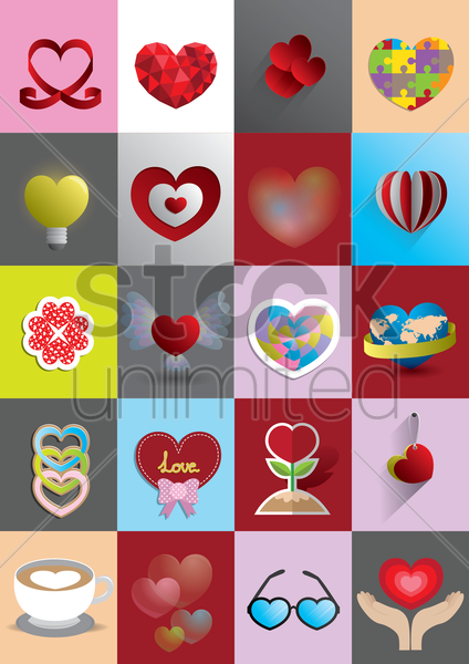 set of heart vector graphic