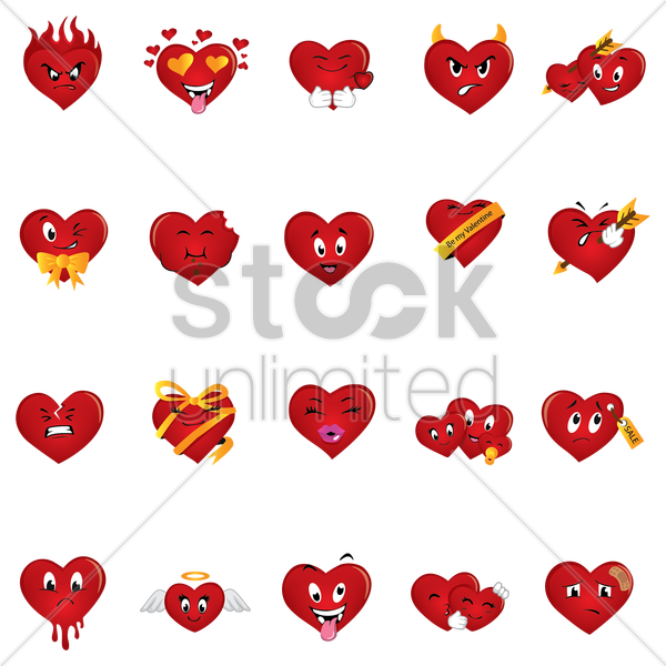 set of hearts vector graphic
