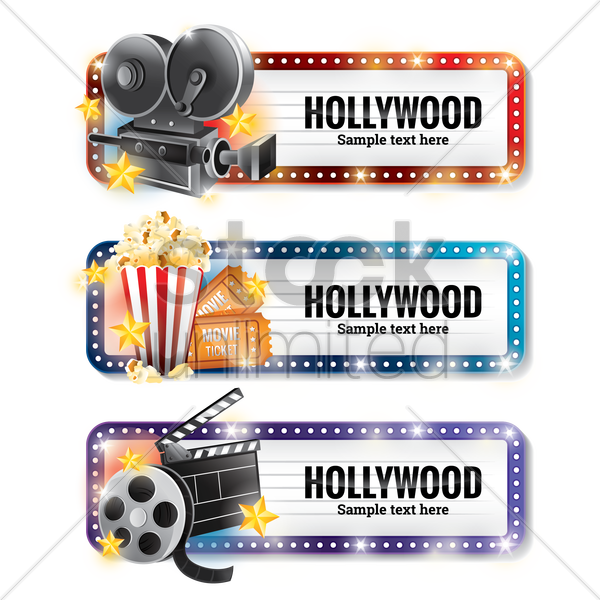 Free set of hollywood banners vector graphic