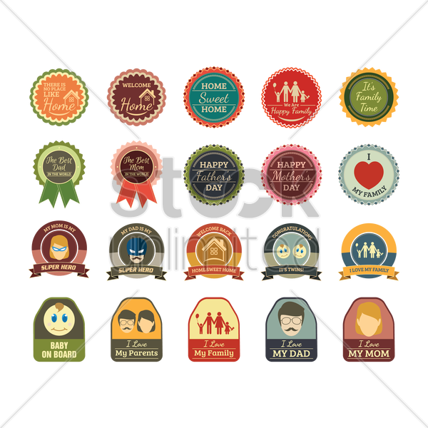 set of home and family labels vector graphic
