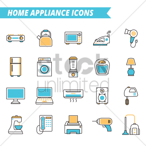 set of home appliance icons vector graphic