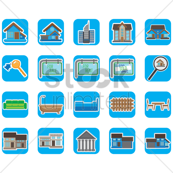 set of home icons vector graphic