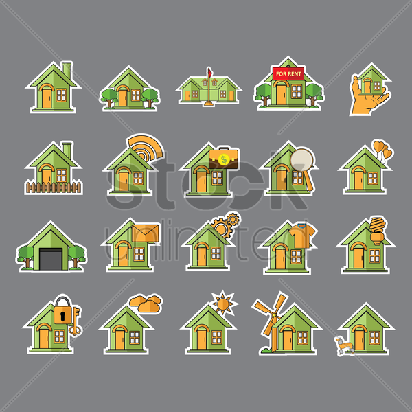 Free set of home icons vector graphic