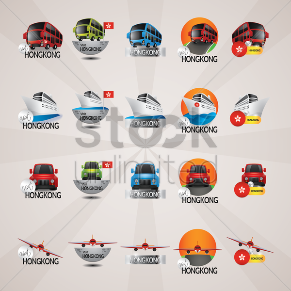 set of hong kong tourism icons vector graphic