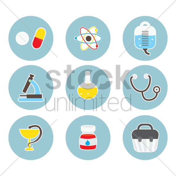 set of hospital equipment vector graphic