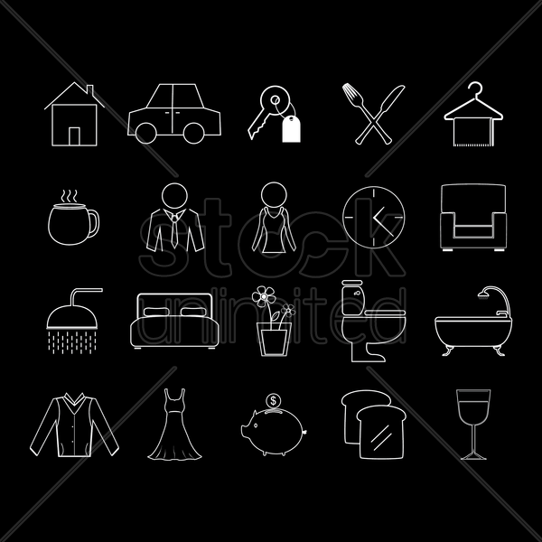 set of house hold icons vector graphic