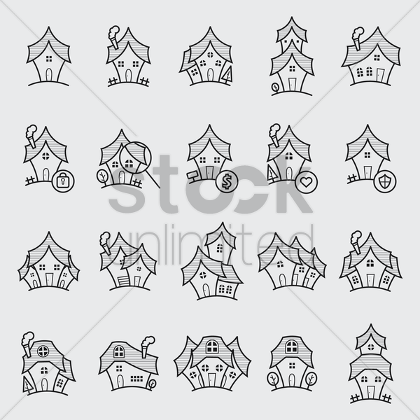 set of house icons vector graphic