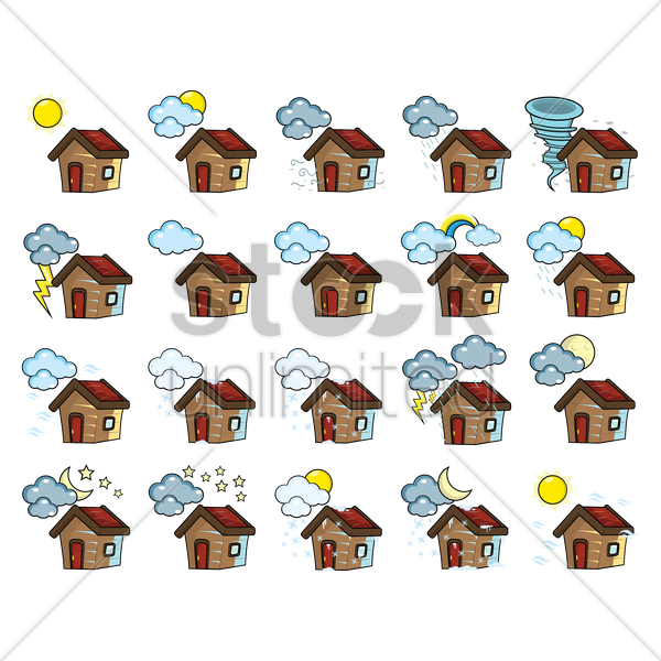 Free set of houses with different weathers vector graphic