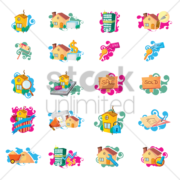 Free set of houses vector graphic