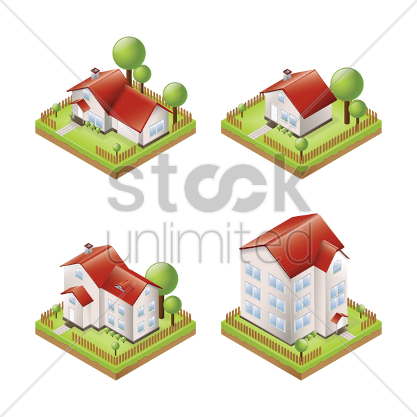set of houses vector graphic