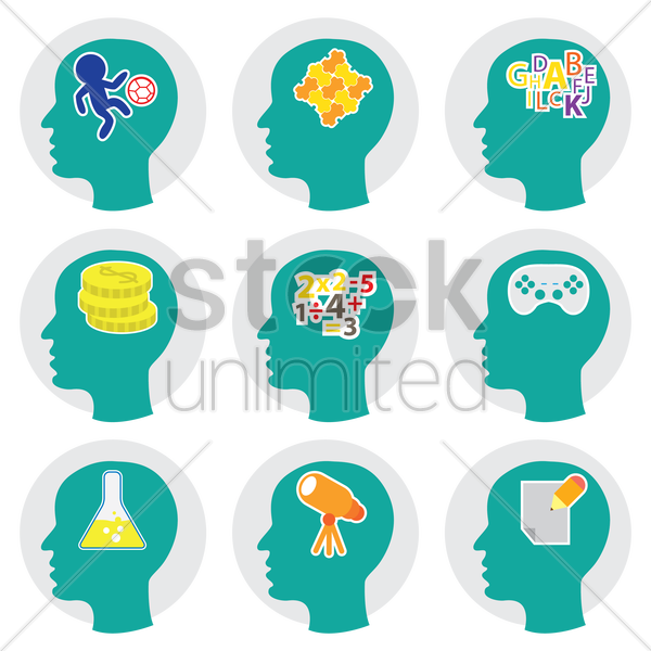 set of human heads with creative icons vector graphic