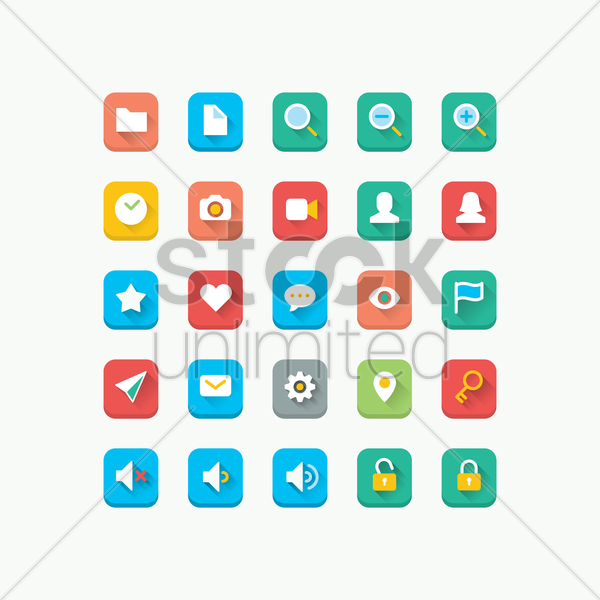 set of icons vector graphic