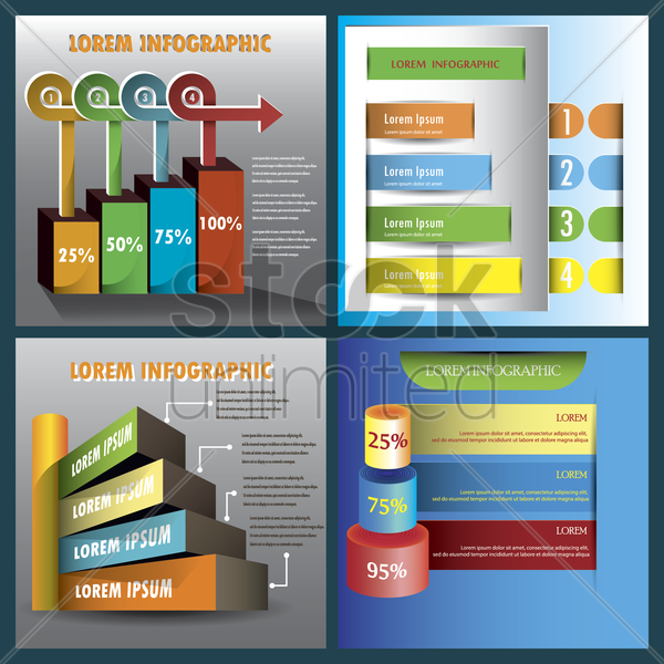 set of infographic design templates vector graphic