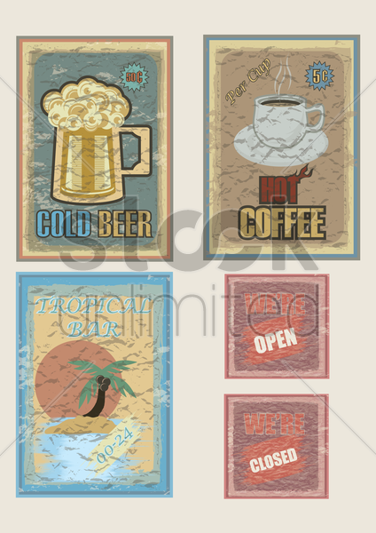 set of information sign posters vector graphic