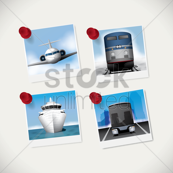 set of instant photographs vector graphic