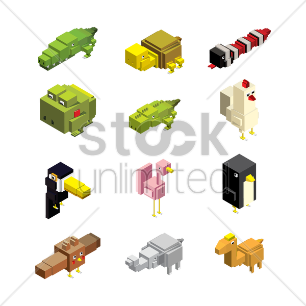 set of isometric animals vector graphic