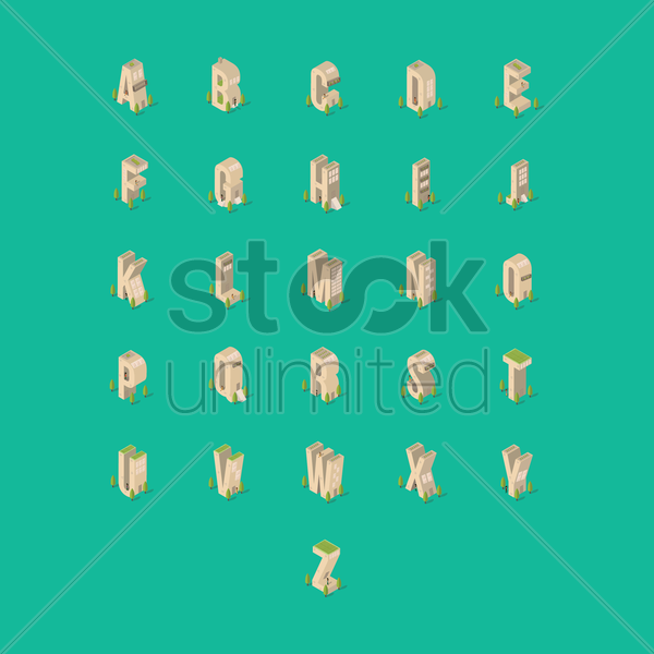 set of isometric buildings with alphabets vector graphic