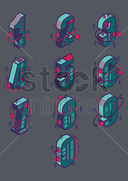 set of isometric numbers vector graphic