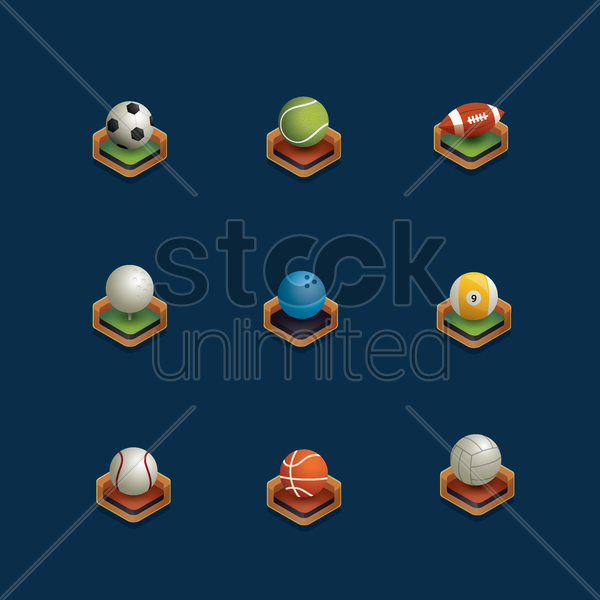 set of isometric sports ball vector graphic