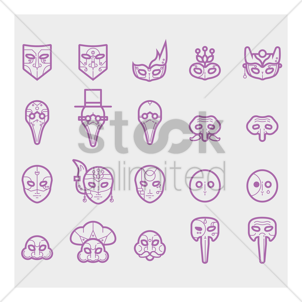 set of italian festival mask vector graphic