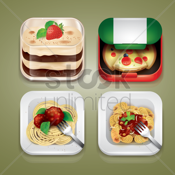 set of italian food icons vector graphic