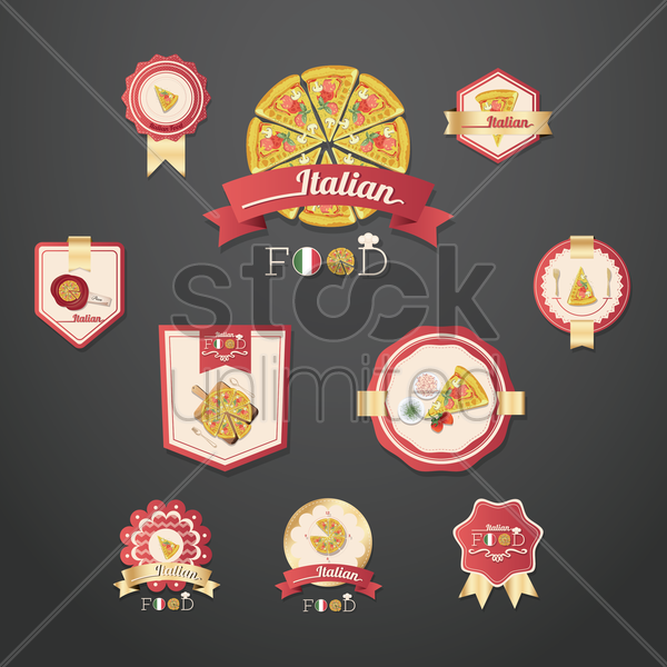 set of italian food vector graphic