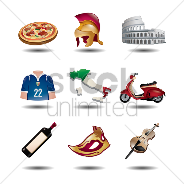 set of italian icons vector graphic