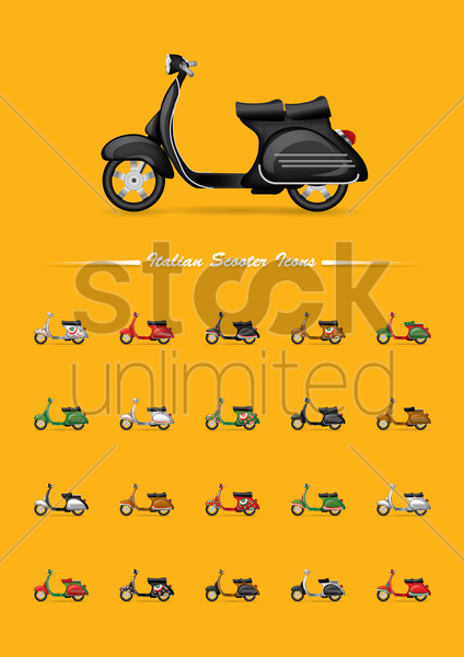 set of italian scooter icons vector graphic